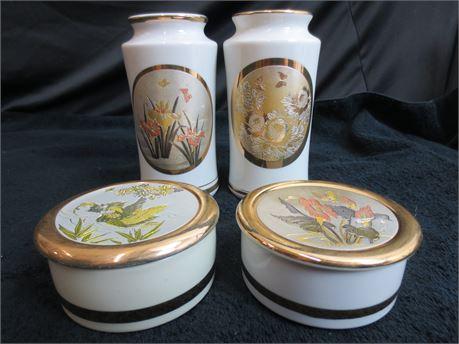 4 Pieces of Japanese The Art of Chokin Ceramics