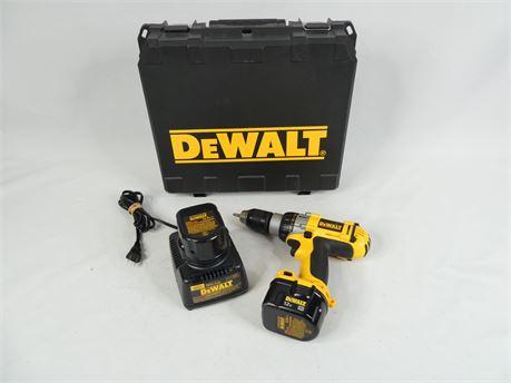 "DeWALT 12V Heavy Duty XRP 1/2"" Cordless Drill / Driver w/ Extra Battery & Case"