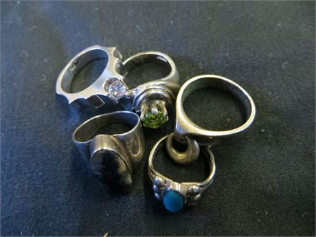 Lot Of (5) 925 Sterling Silver Rings