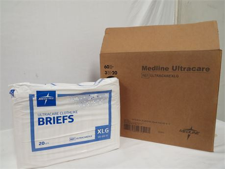 Medline Ultracare Clothlike Briefs Adult Diapers XLG 58-68in - Case of 60 - NEW