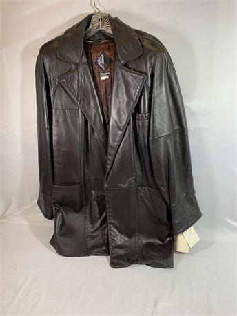 Tibor Leather Men's Coat Dark Brown Size M