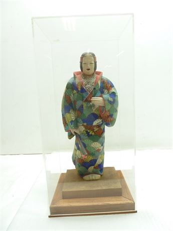"""Wood Carved, Oriental Style Statue; 15""""x8"""", In Case (Has Broken Thumb)"""
