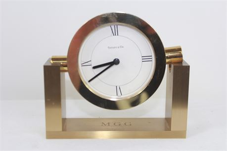 Tiffany & Co. Brass Mantel Clock PARTS OR REPAIR