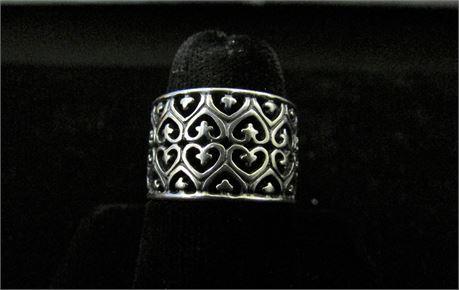 925 Silver Filigree Heart Ring