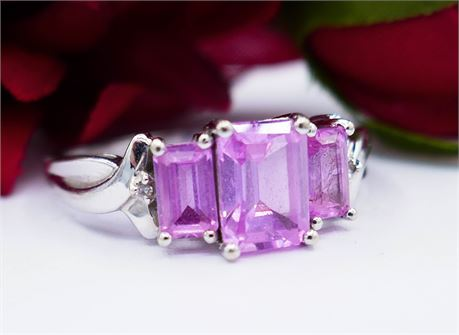 10K White Gold Pink Sapphire Ring w/Diamond Accents Sz 7.25 (112)