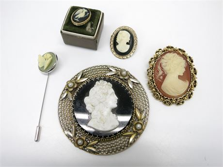 Lot of 5 Vintage Cameo Ivory Brooches/Pins