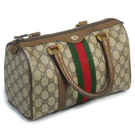 Vintage Gucci Coated Canvas Monogram GG Stripe Shoulder Bag