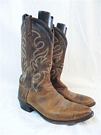 Dan Post Western Cowboy Boots - Brown Leather-  Men's Sz 10EW