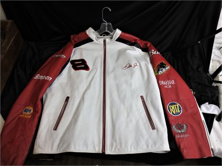 Dale Earnhardt Jr. White and Red Wilson Leather Jacket by Chase Authentics