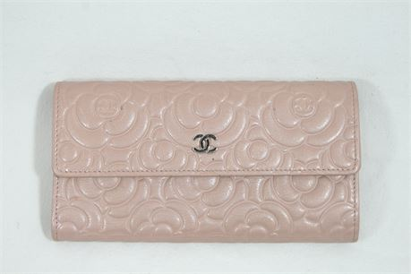Chanel Camellia Embossed Lambskin Leather L Flap Wallet