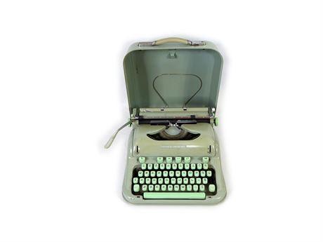 Vintage HERMES 3000 Portable Typewriter w/ Metal Case, Swiss Made, Working