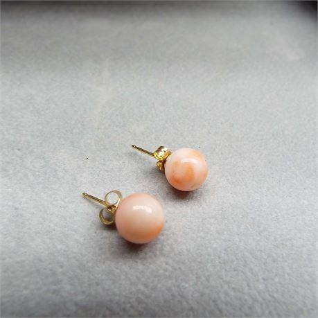 1.5 Gram 14kt Gold Orange & White Swirl Round Earrings