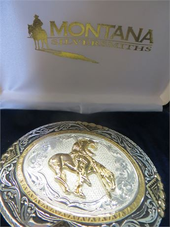 Montana Silversmiths Silver Plated Belt Buckle and Lanyard