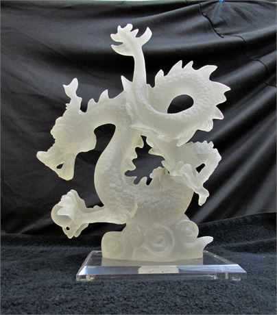 Large Frosted White Asian Luck Dragon Statue
