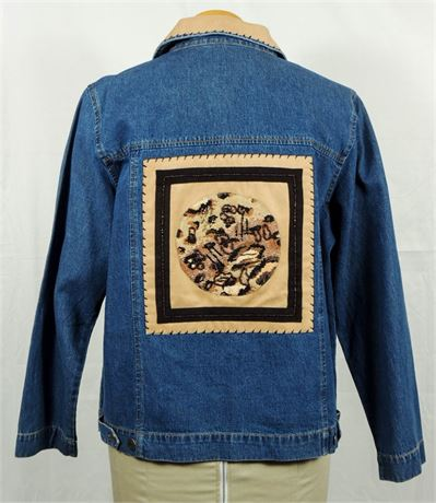 Studio Works Denim Jacket w/Beaded Animal Print Detail Women's Size Medium