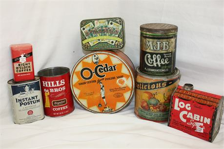 Lot of 8 Vintage Tins: Food, Coffee, Tobacco, and More!
