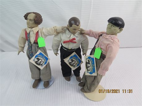 Vintage 1988 Hamilton Gifts 1991 The Three Stooges Larry, Curly & Mo, Figurines
