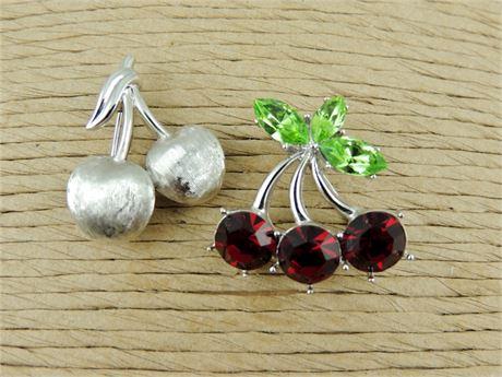 2 Cherry Cluster Brooches - Silver Tone Trifari & Unsigned Rhinestone (579-J)