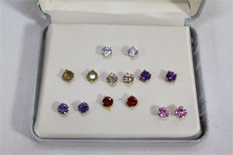 Small Sterling Silver Earrings w/Colored CZ Stones