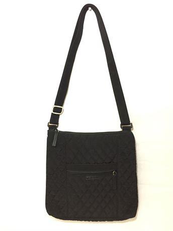 Vera Bradley Black Shoulder Bag (Flower Interior) 11X10X1