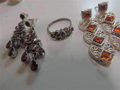 5 Piece Amber Inspired Lot All Sterling With Stones