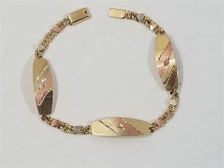 "10K Yellow Gold 7"" Bracelet. 5.8 Grams Total Weight"