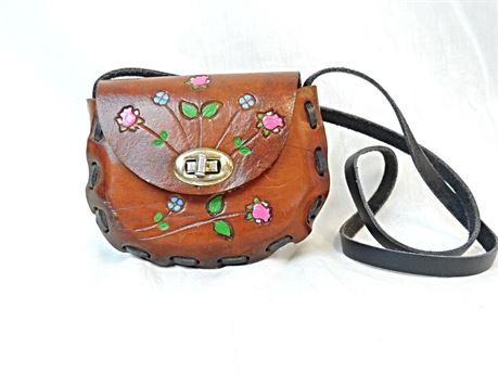 Small Hand Tooled Leather Purse Mexico Flowers Hand Painted Hippie Boho