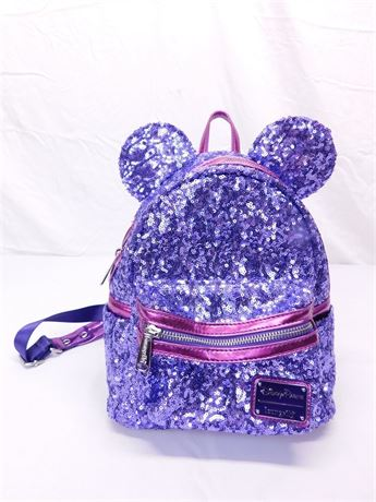 Disney Loungefly Backpack - Minnie Mouse Sequined - Potion Purple (R8)