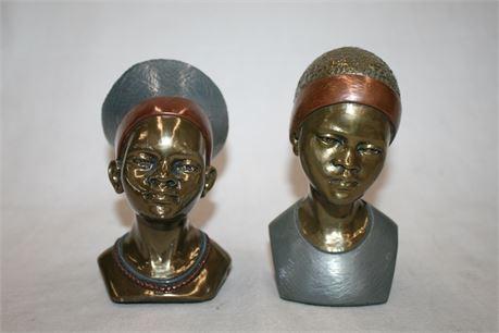 RARE Casper Darare African Bronze Busts