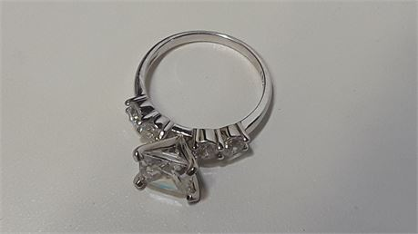 .925 CZ Sterling Silver Size 8 Ring. 3.9 Grams Total Weight.