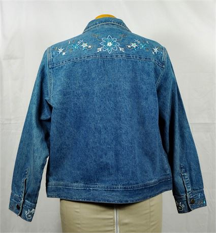 Relativity Denim Jacket w/Embroidered Blue Floral Detail - Women's Size Large