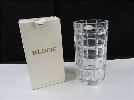 Block Esquire Vase 24% Lead Crystal Hand Crafted #MM142 (650)