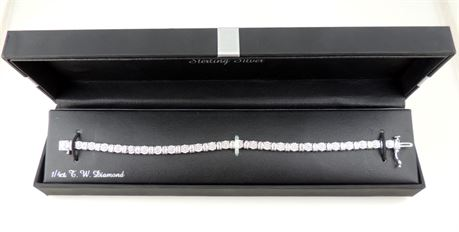 "NIB Sterling Silver Diamond Tennis Bracelet 1/4 Carat T.W. 7.5"" Long (579-J)"