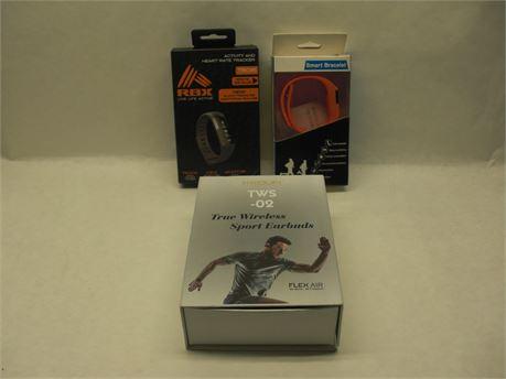 Wireless Headphones, 2 Smart Bracelets, iPhone / iPad charging station