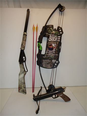 Lot Of Archery&Air Gun,Banshee Bow,Daisy BB Gun,Pistol Crossbow.Pre-Owned