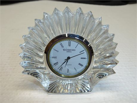 "Waterford Crystal Scallop Shell Clock(Not Running) 3""x3""x1"""