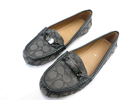 Womens Coach Olive Slip-on Loafers - Black Smoke Women Size 7.5