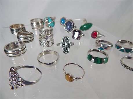 Sterling Silver Ring Lot 20 pcs 106 grams Some with Stones (270SA/RR)