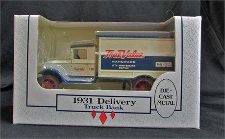 True Value 1931 Delivery Truck Bank Die-Cast Metal