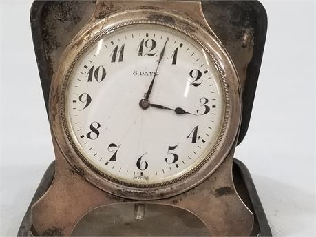 Vintage 8 Day Swiss Sterling Silver Travel Clock. S1378