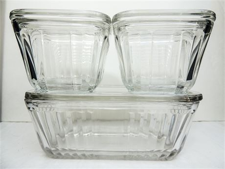 Anchor Hocking 1932 Vintage Design Clear Ribbed Glass Refrigerator Dishes w/Lids