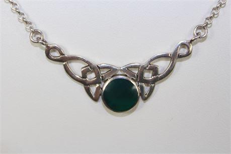 925 Silver Celtic Knot Pendant W/ Chrysoprase