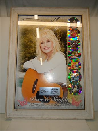 """Dolly Parton """"Pure & Simple"""" North American Tour 2016 Signed Art Piece Framed"""