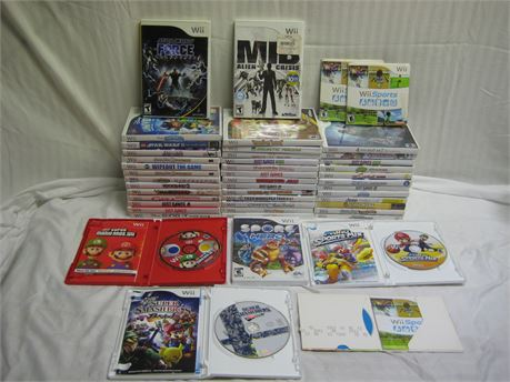 Lot Of 47 Nintendo Wii Video Games Complete With Manuals