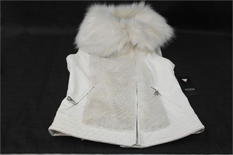 Guess Womens Vest with Faux Fur Size XS  Cream