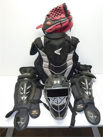 Youth Baseball, Catcher, Protective Gear,Helmet,Chest Pad,Legs & Glove Pre-Owned