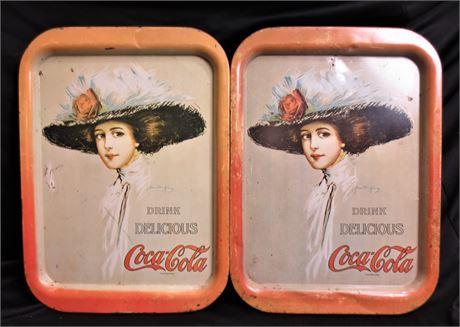 2 Vintage Drink Delicious Coca Cola Serving Trays