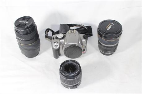 Canon Rebel XT EOS 8MP DS126071 Digital Camera & 3 Lenses