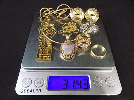 14K Gold Jewelry Lot; All Wearable, A Few Stones; 31.43 grams