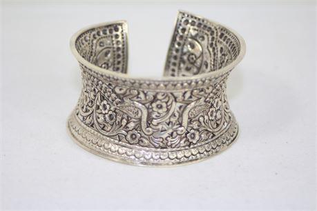 925 Silver Peacock Pattern Cuff Bracelet 33 mm